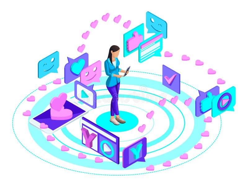 Το Isometric νέο κορίτσι με ένα smartphone, οδηγεί το blog της σε ένα κοινωνικό δίκτυο, γράφει και προσέχει το βίντεο, οδηγεί μια διανυσματική απεικόνιση