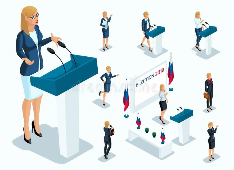 Το Isometry είναι Πρόεδρος γυναικών, ψηφοφορία, εκλογές, συζήτηση Χειρονομίες του υποψηφίου, συνθήματα μιας επιχειρηματία διανυσματική απεικόνιση