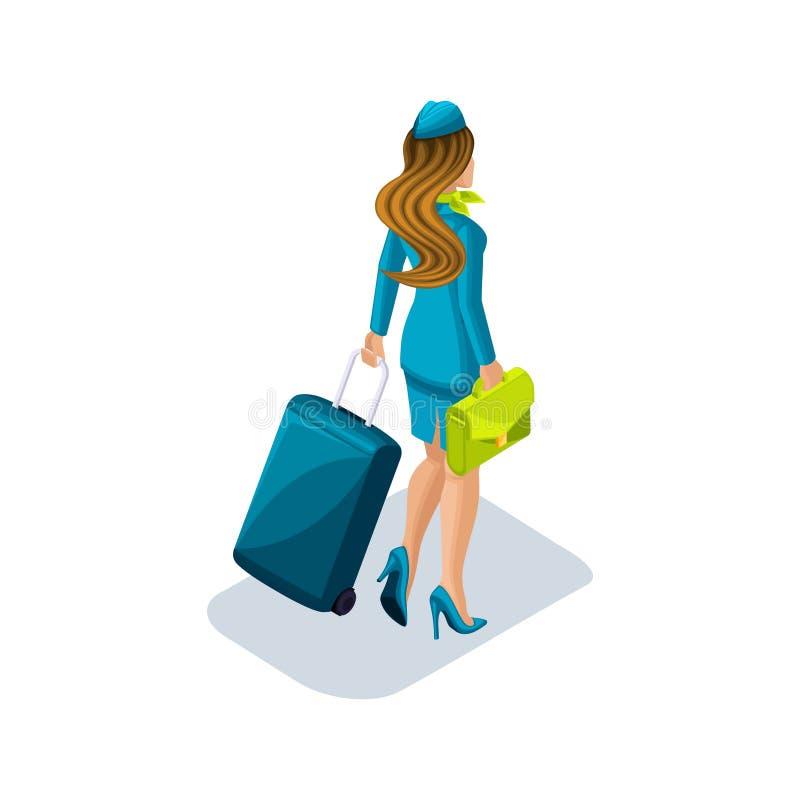 Το Isometry του κοριτσιού αεροσυνοδών με τα πράγματα και τις βαλίτσες συνεχίζει στο αεροπλάνο Οπισθοσκόπα, ομοιόμορφα παπούτσια ελεύθερη απεικόνιση δικαιώματος