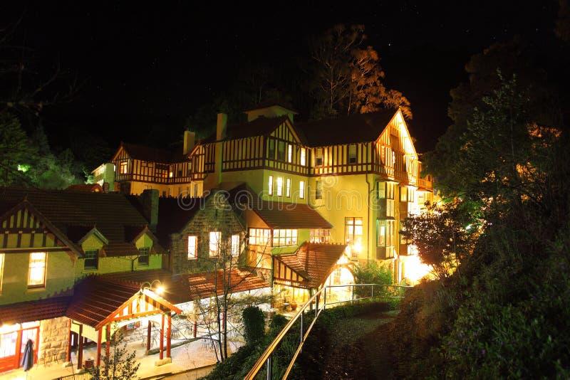 Το Jenolan ανασκάπτει το σπίτι τη νύχτα στοκ φωτογραφία