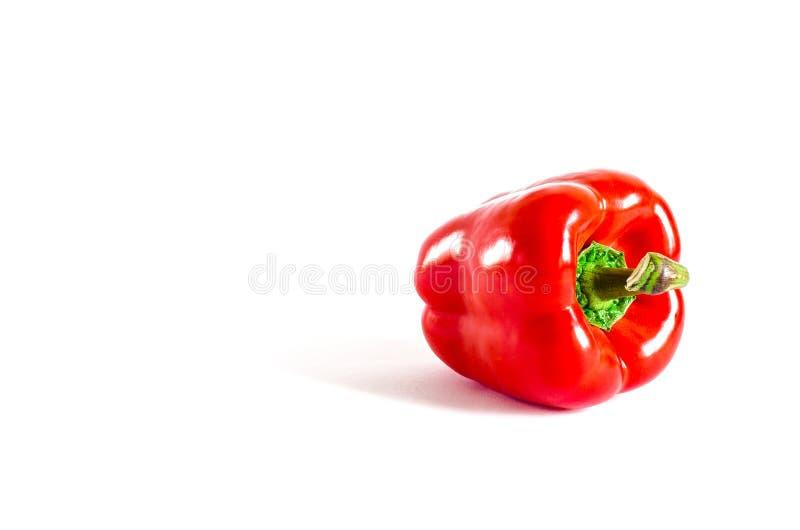 Το Juicy κόκκινο πιπέρι με μια πράσινη ουρά βρίσκεται σε ένα άσπρο υπόβαθρο στοκ φωτογραφία με δικαίωμα ελεύθερης χρήσης