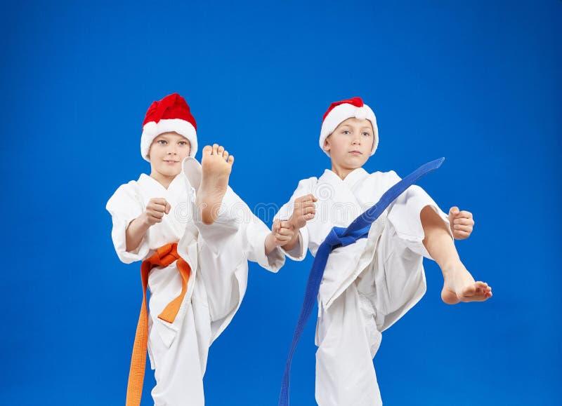 Το karateka δύο κτυπά το πόδι λακτίσματος στοκ φωτογραφία με δικαίωμα ελεύθερης χρήσης