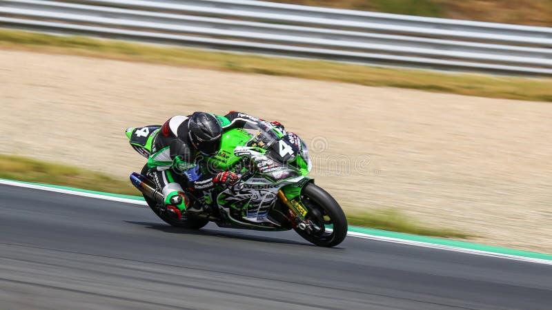 Το Kawasaki ZX 10R ανταγωνίζεται στο παγκόσμιο πρωτάθλημα αντοχής FIM στοκ φωτογραφία με δικαίωμα ελεύθερης χρήσης