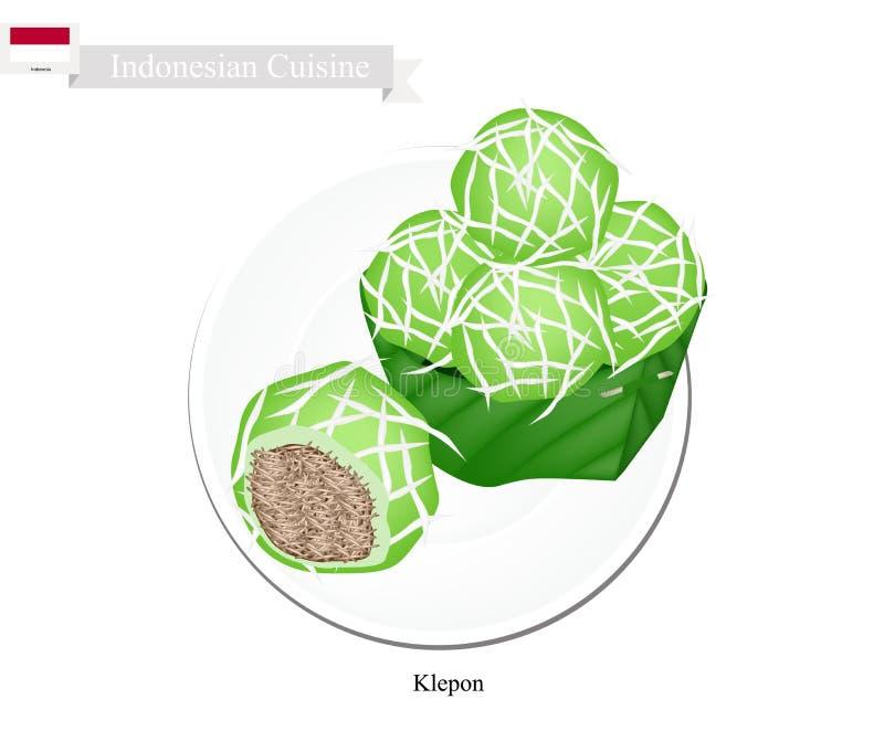 Το Klepon ή Ινδονήσιος γέμισε τις σφαίρες ρυζιού Pandanus απεικόνιση αποθεμάτων