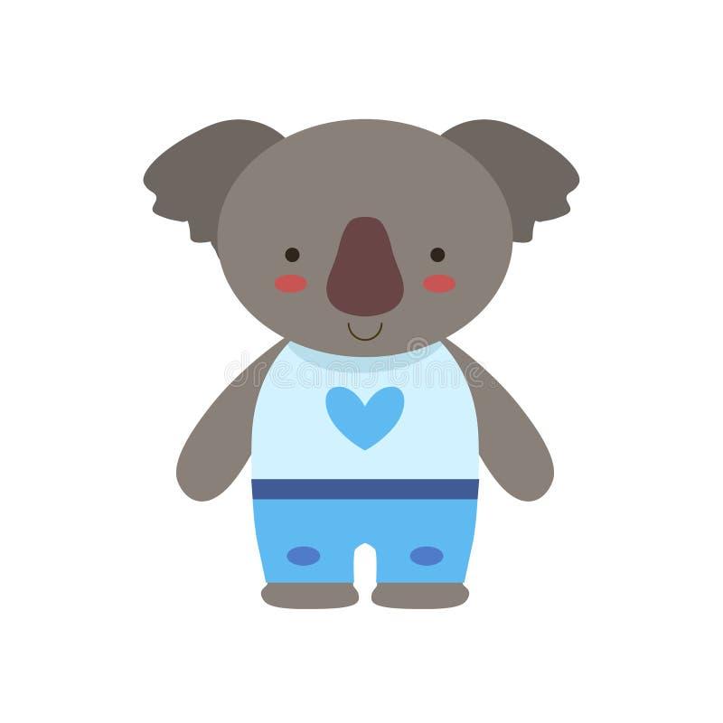 Το Koala στην άσπρη κορυφή με την τυπωμένη ύλη καρδιών και το μπλε ζώο μωρών παιχνιδιών εσωρούχων χαριτωμένο έντυσε ως μικρό παιδ απεικόνιση αποθεμάτων