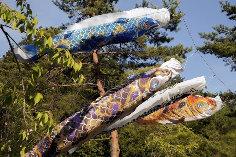 Το Koinbori κοντινό τοποθετεί το Φούτζι στοκ φωτογραφίες