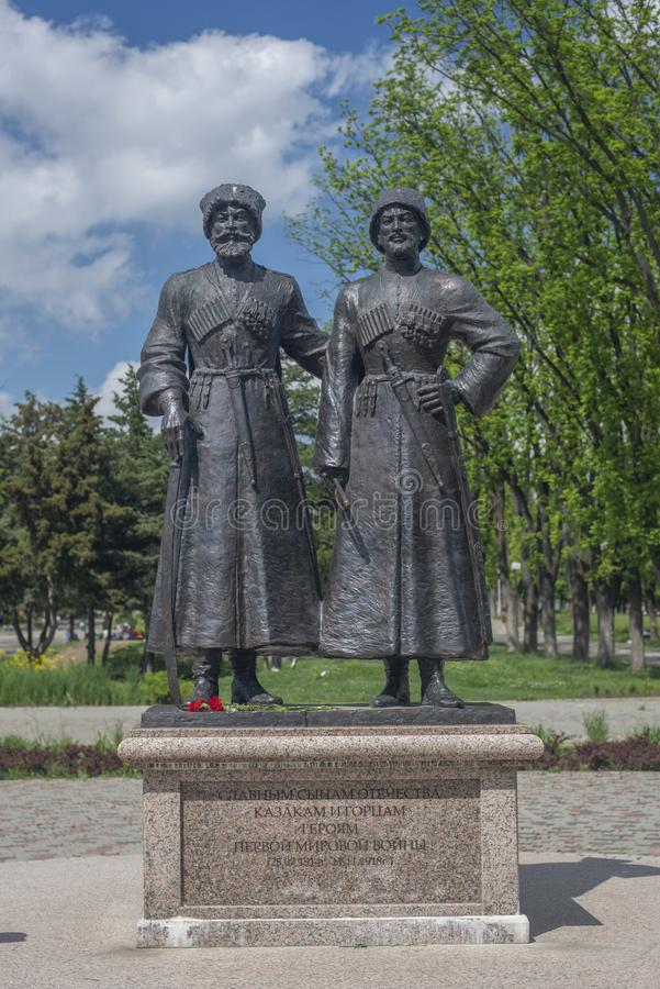 Το Krasnodar, Ρωσία, 7 μπορεί το 2019 Μνημείο σε Cossacks και τους ορεσίβιος-ήρωες του πρώτου παγκόσμιου πολέμου στην οδό Krasnay στοκ εικόνες