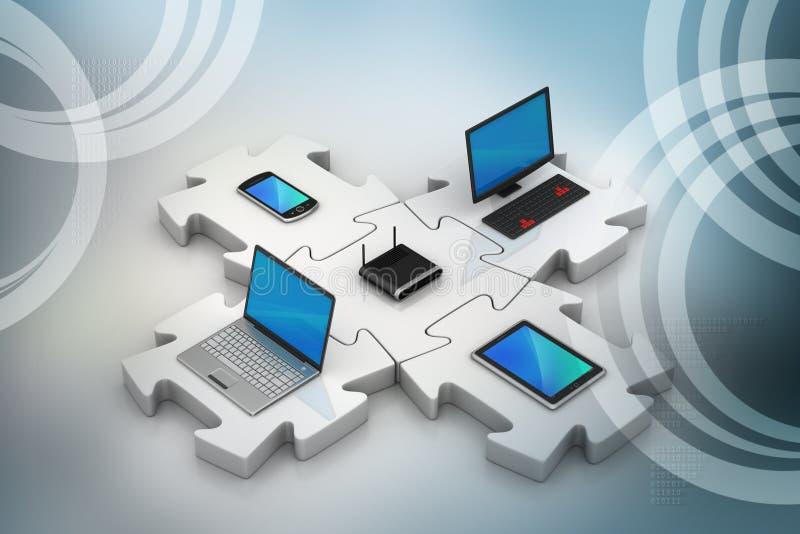 Το lap-top και ο κεντρικός υπολογιστής συνδέουν στους γρίφους διανυσματική απεικόνιση