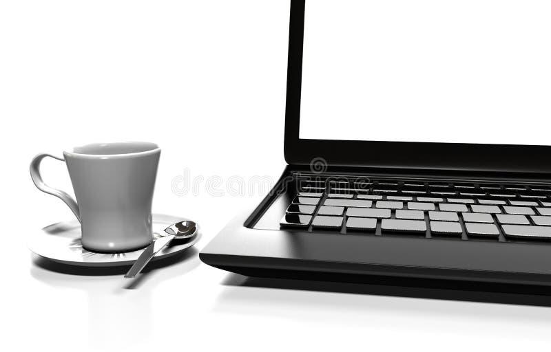 Το lap-top που απομονώνεται στο λευκό με το ψαλίδισμα της πορείας, τρισδιάστατης δίνει απεικόνιση αποθεμάτων