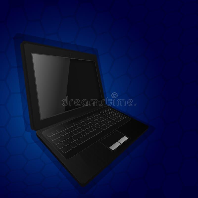 Το lap-top σε ένα μπλε αφηρημένο υπόβαθρο απεικόνιση αποθεμάτων