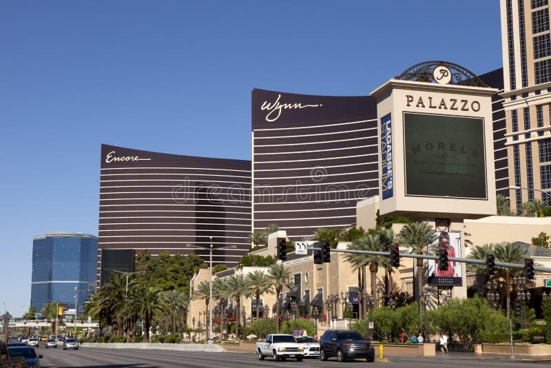 Το Las Vegas Strip με τις χαρτοπαικτικές λέσχες Palazzo, Wynn και Encore στοκ εικόνα με δικαίωμα ελεύθερης χρήσης