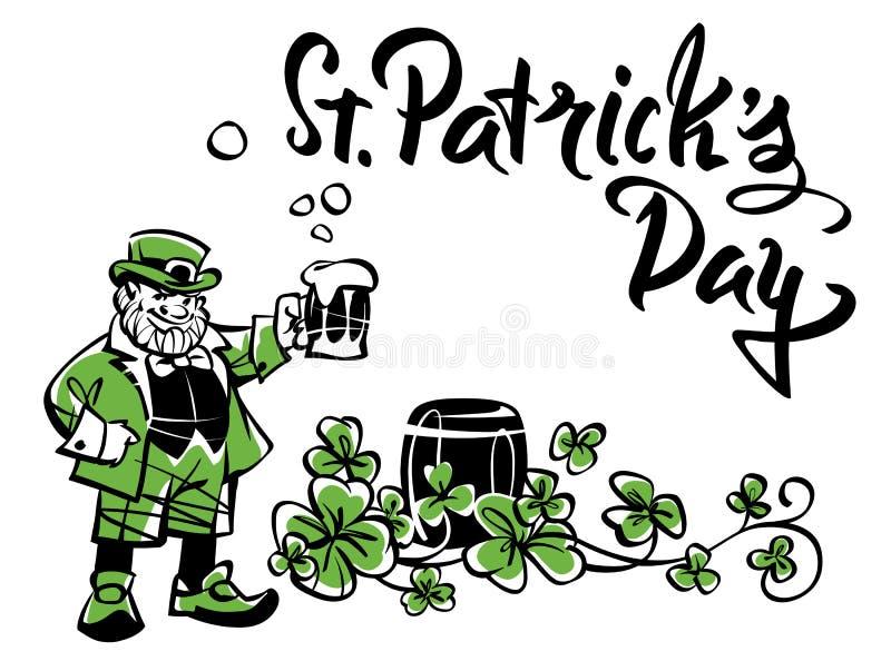 Το Leprechaun με μια κούπα, γιορτάζει την ημέρα του ST Πάτρικ ` s απεικόνιση αποθεμάτων