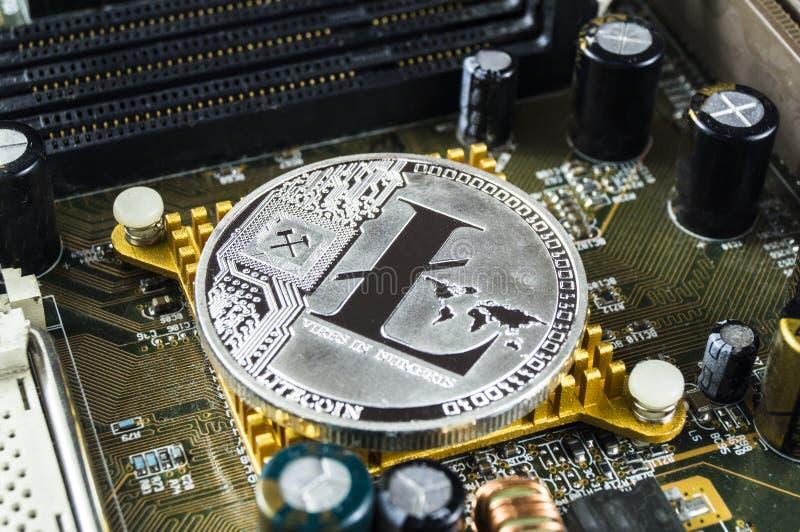 Το Litecoin είναι ένας σύγχρονος τρόπος της ανταλλαγής και αυτού του crypto νομίσματος στοκ εικόνες