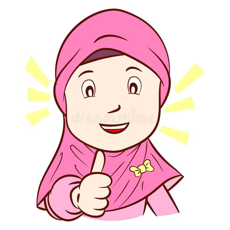Το Llustration του ευτυχούς μουσουλμανικού κοριτσιού είναι αντίχειρας επάνω, διανυσματική απεικόνιση ελεύθερη απεικόνιση δικαιώματος