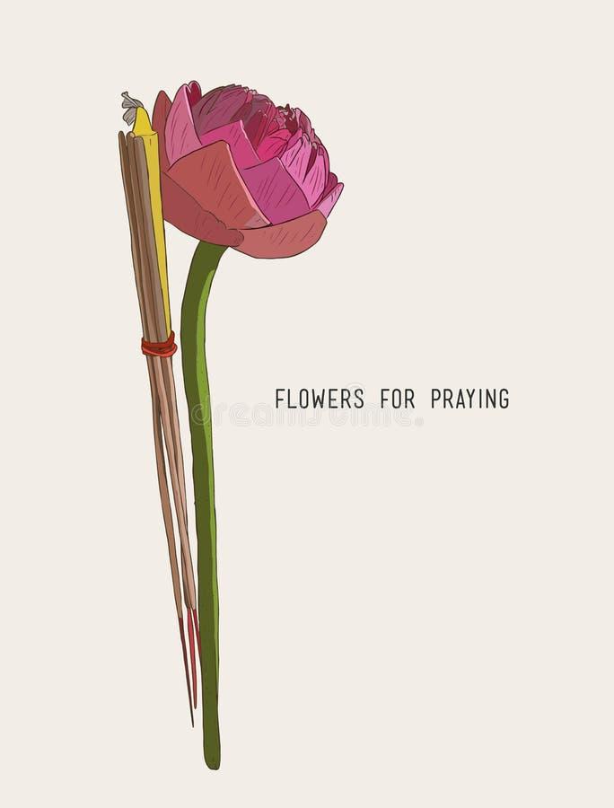 Το Lotus, θυμίαμα κολλά και σημαδεύει το σύνολο για την επίκληση του Βούδα temp απεικόνιση αποθεμάτων
