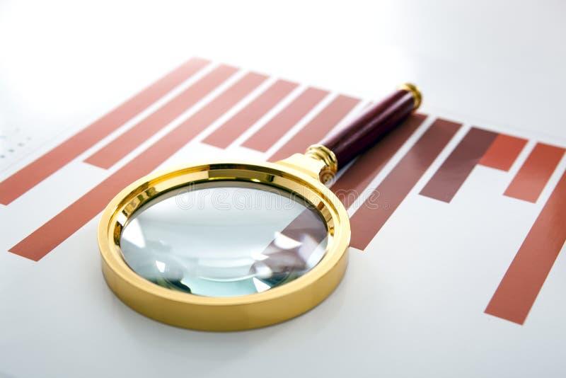 Το Magnifier βρίσκεται στο τυπωμένο διάγραμμα στοκ εικόνα με δικαίωμα ελεύθερης χρήσης