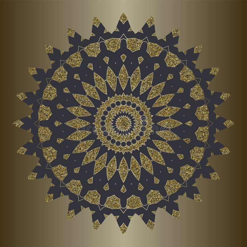 Το mandala πολυτέλειας με το χρυσό ακτινοβολεί στο εθνικό ύφος Διακοσμητικό υπόβαθρο με την εκλεκτής ποιότητας διακόσμηση απεικόνιση αποθεμάτων