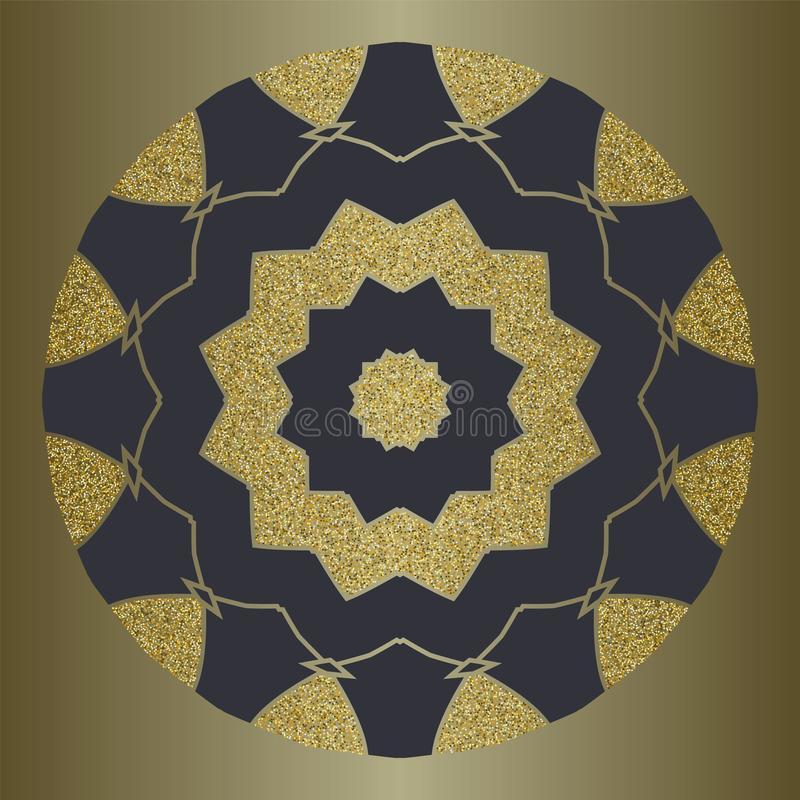 Το mandala πολυτέλειας με το χρυσό ακτινοβολεί στο εθνικό ύφος Διακοσμητικό υπόβαθρο με την εκλεκτής ποιότητας διακόσμηση ελεύθερη απεικόνιση δικαιώματος