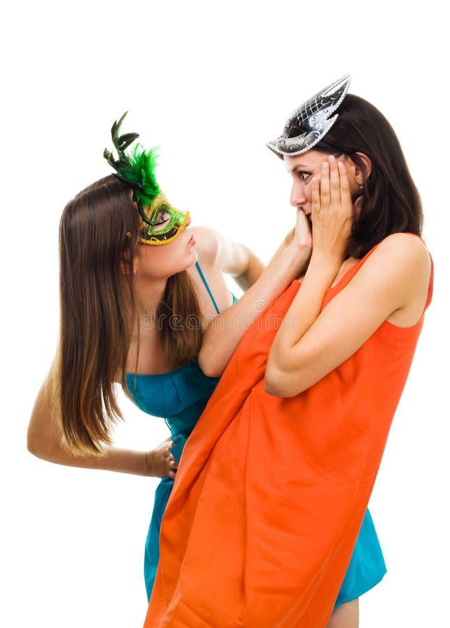 το masquera μασκών εξέπληξε δύο φ&omicro στοκ εικόνα με δικαίωμα ελεύθερης χρήσης