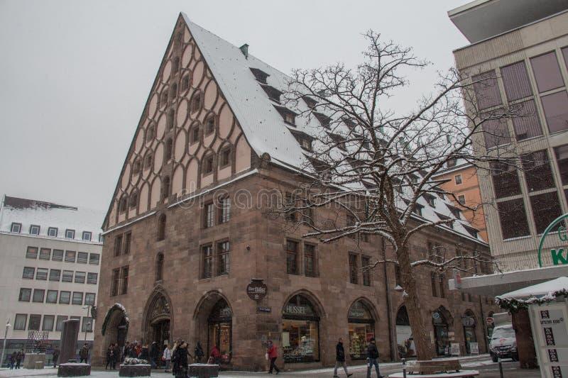 Το Mauthalle στο χειμώνα Γερμανία Νυρεμβέργη στοκ εικόνες με δικαίωμα ελεύθερης χρήσης