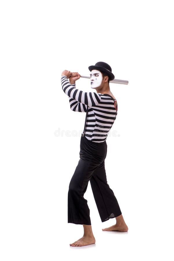 Το mime με το ρόπαλο του μπέιζμπολ που απομονώνεται στο λευκό στοκ εικόνες με δικαίωμα ελεύθερης χρήσης