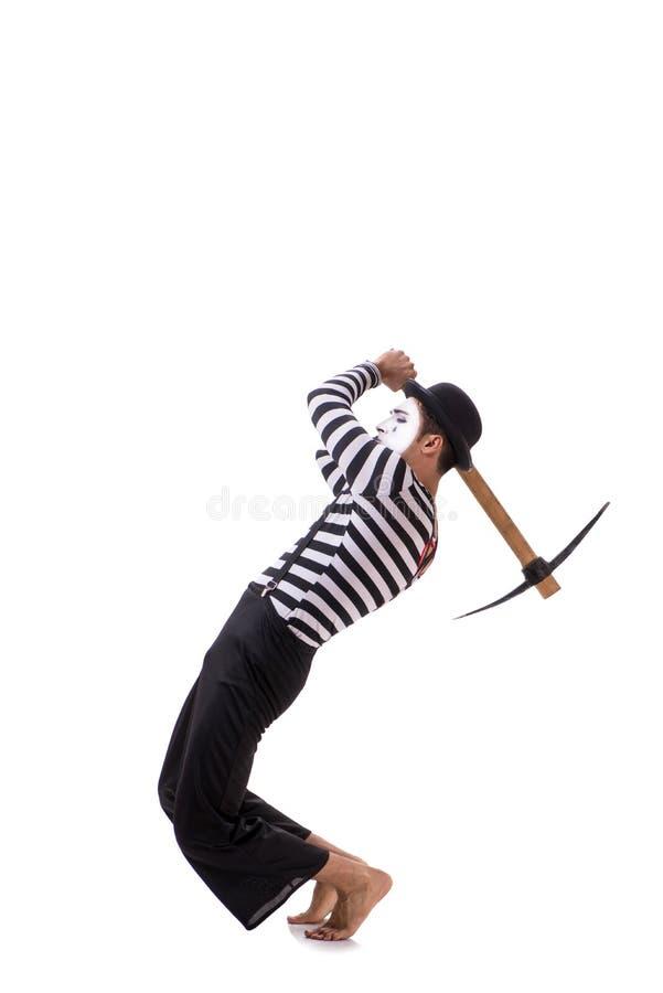 Το mime με το τσεκούρι που απομονώνεται στο άσπρο υπόβαθρο στοκ εικόνες
