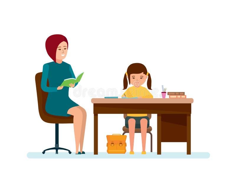 Το Mom ελέγχει την εργασία της κόρης, το κορίτσι κάνει τα μαθήματα στον πίνακα διανυσματική απεικόνιση
