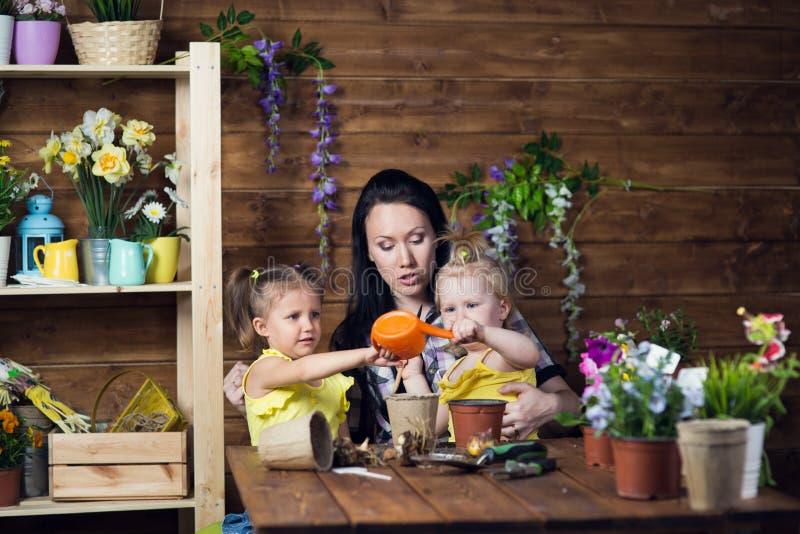 Το Mom και τα παιδιά φυτεύουν τα λουλούδια στοκ εικόνα