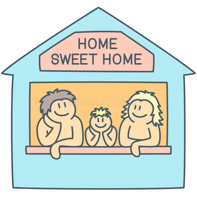 Το Mom, ο μπαμπάς και το αγόρι στο doodle επεξήγησαν την έννοια του γλυκού σπιτιού - διανυσματικό σκίτσο απεικόνιση αποθεμάτων
