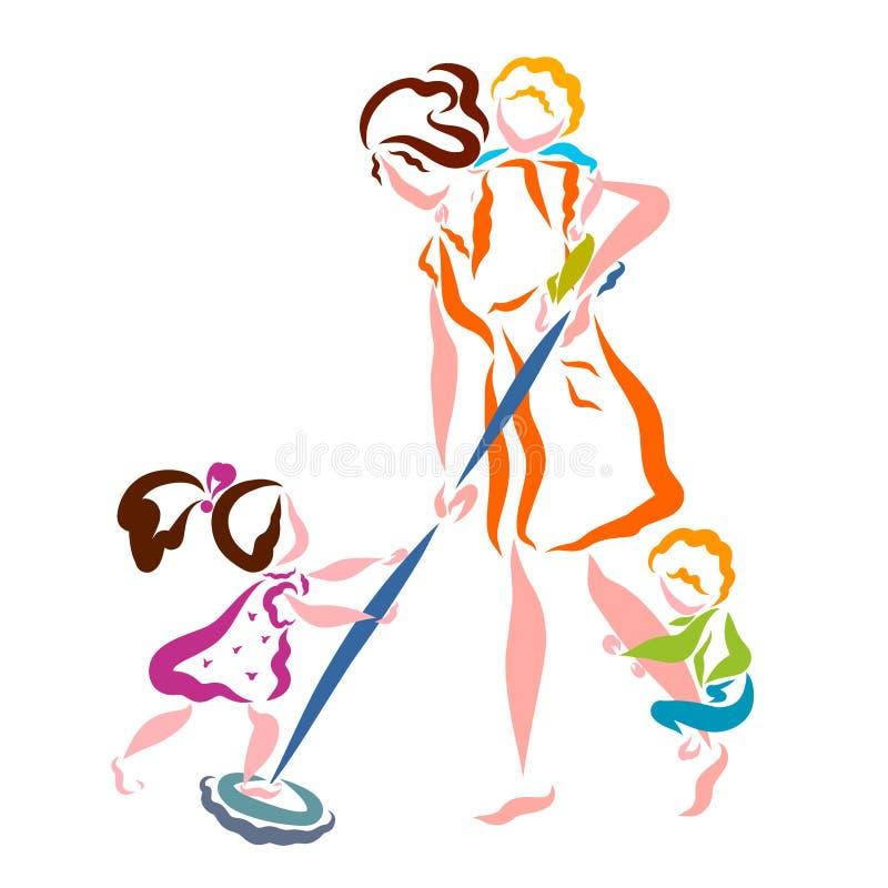 Το Mom πλένει το πάτωμα, παιχνίδι παιδιών, άδειες μητρότητας, ζωή της γυναίκας απεικόνιση αποθεμάτων
