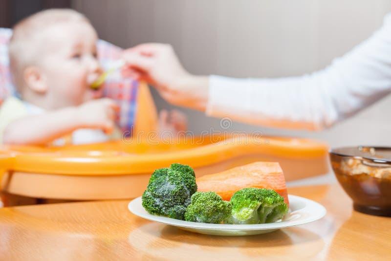 Το Mom ταΐζει τη σούπα μωρών Υγιείς και φυσικές παιδικές τροφές στοκ εικόνες με δικαίωμα ελεύθερης χρήσης