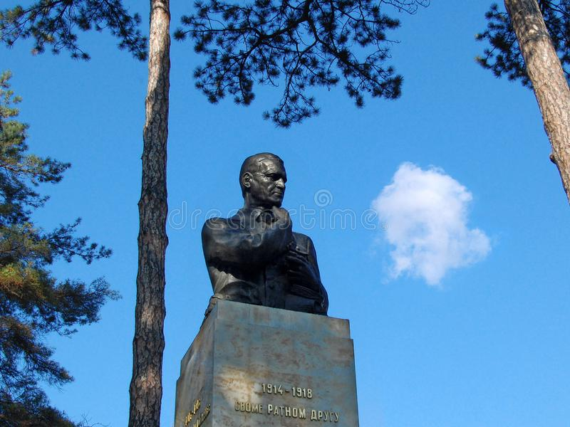 Το Monumet σε Archibald Reiss βρίσκεται στο πάρκο Topcider στοκ εικόνα