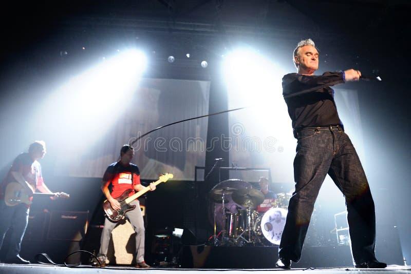 Το Morrissey, το διάσημοι lyricist και ο αοιδός της ορχήστρας ροκ το Smiths, εκτελούν στοκ εικόνα