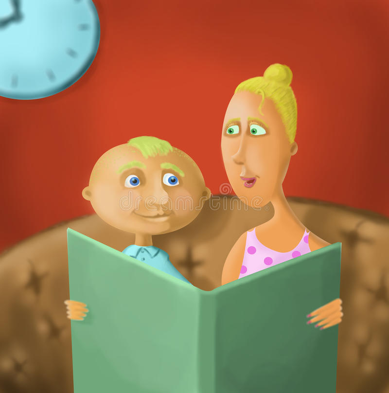 Το Mum διαβάζει το βιβλίο στο γιο του ελεύθερη απεικόνιση δικαιώματος