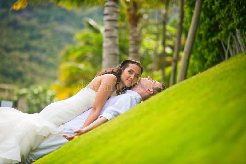 Το Newlyweds βρίσκεται στην πράσινη χλόη στοκ εικόνες