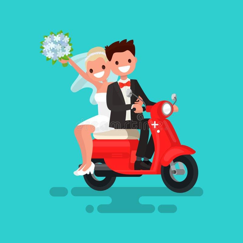 Το Newlyweds πηγαίνει σε ένα κόκκινο μοτοποδήλατο επίσης corel σύρετε το διάνυσμα απεικόνισης διανυσματική απεικόνιση
