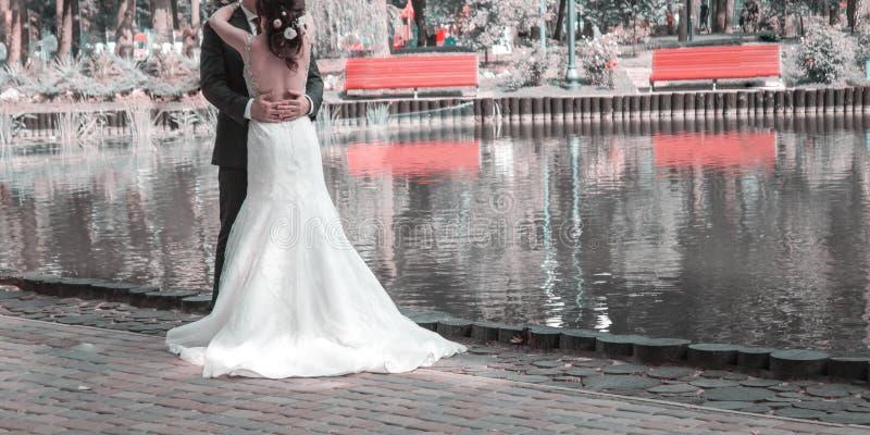 Το Newlyweds που αγκαλιάζει, η νύφη είναι ντυμένο σε ένα κλασικό άσπρο γαμήλιο φόρεμα, ο νεόνυμφος είναι ντυμένος στο μαύρο γαμήλ στοκ φωτογραφία