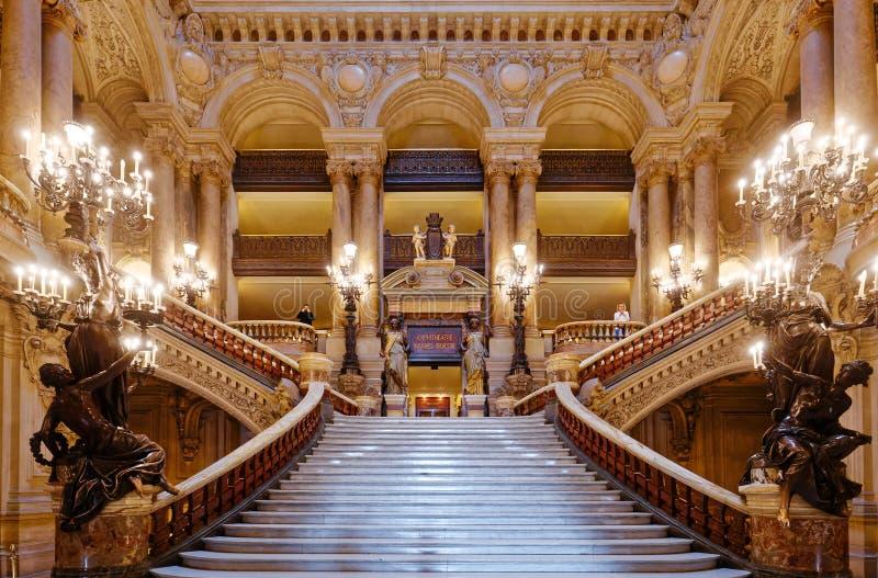 Το Palais Garnier, όπερα του Παρισιού, εσωτερικό και λεπτομέρειες στοκ εικόνα