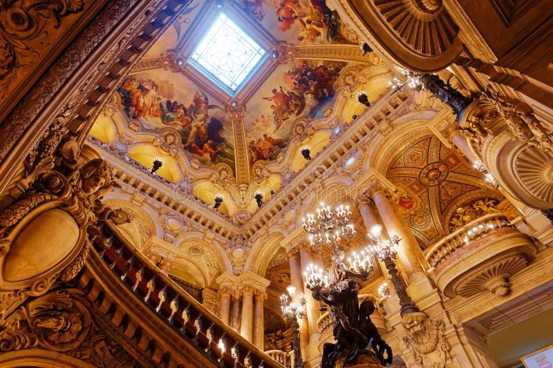 Το Palais Garnier, όπερα του Παρισιού, εσωτερικό και λεπτομέρειες στοκ φωτογραφίες