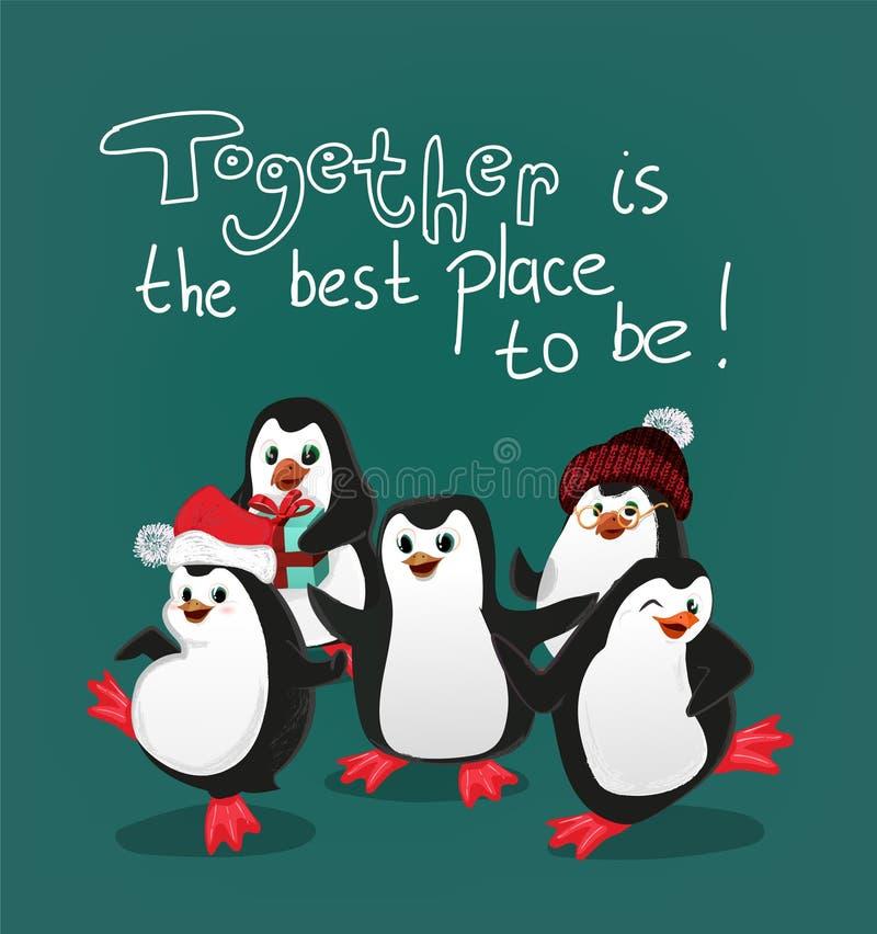 Το Penguin με το διάνυσμα καρτών Χριστουγέννων φίλων είναι μαζί η καλύτερη θέση για να είναι διανυσματική απεικόνιση