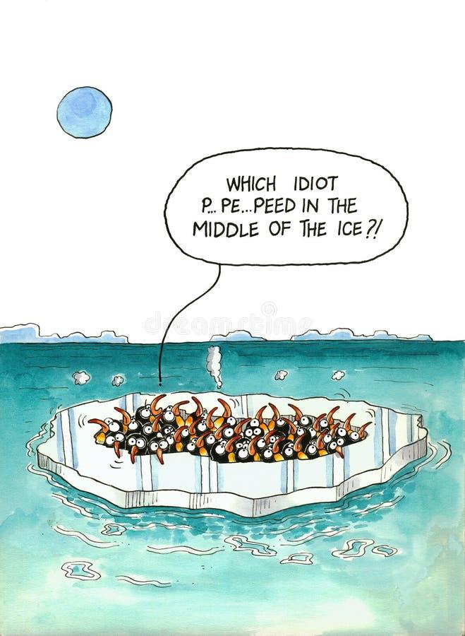 Το Penguins έπεσε μέσα στο λειωμένο πάγο διανυσματική απεικόνιση