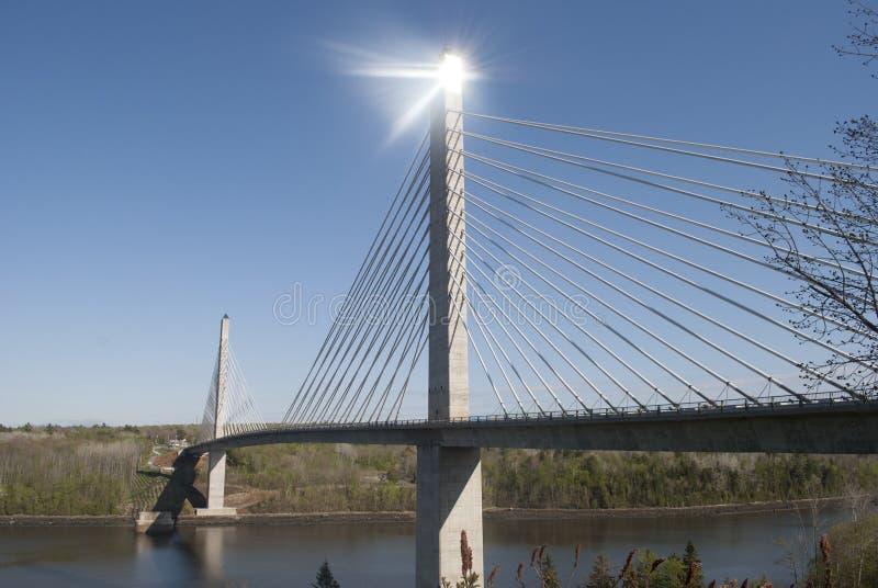 Το Penobscot στενεύει τη γέφυρα και το παρατηρητήριο στοκ εικόνες με δικαίωμα ελεύθερης χρήσης