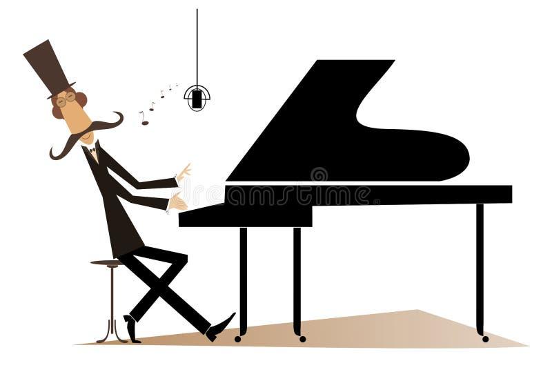 Το pianist Mustache παίζει τη μουσική στο πιάνο και το τραγούδι διανυσματική απεικόνιση