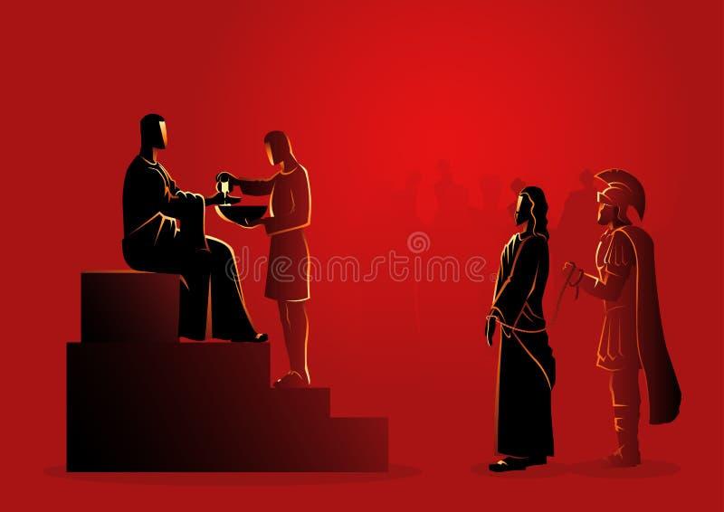 Το Pilate καταδικάζει τον Ιησού για να πεθάνει απεικόνιση αποθεμάτων