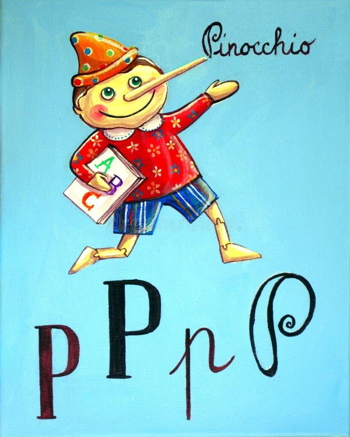 Το Pinocchio πηγαίνει στο σχολείο απεικόνιση αποθεμάτων