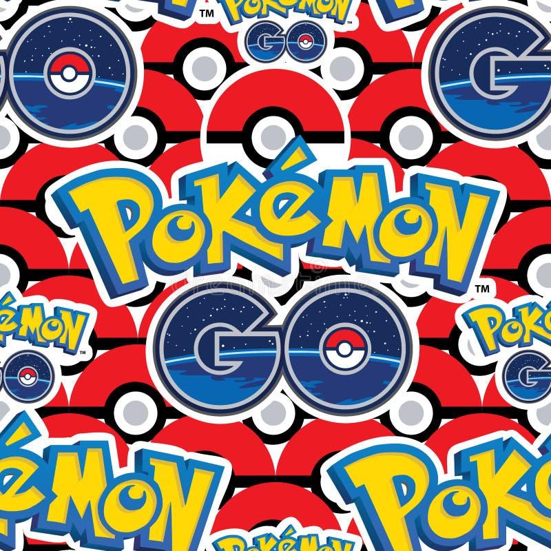Το Pokemon πηγαίνει πολλοί άνευ ραφής σχέδιο σφαιρών ελεύθερη απεικόνιση δικαιώματος