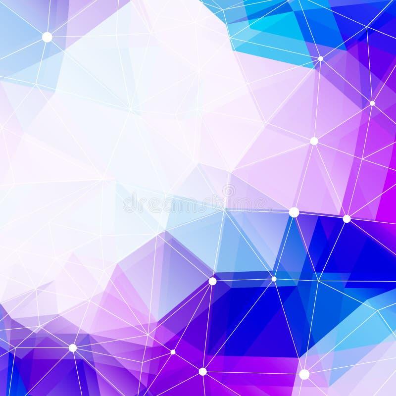 Το Polygonal διάστημα υποβάθρου και αντιγράφων, αφαιρεί το γεωμετρικό υπόβαθρο Φουτουριστικό τρισδιάστατο ύφος τεχνολογίας, διανυ διανυσματική απεικόνιση