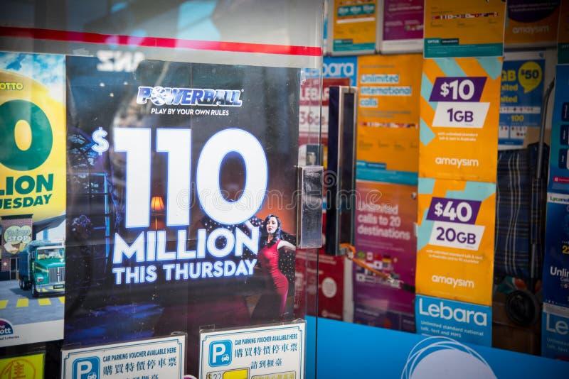 Το Powerball αυτήν την Πέμπτη για 110 εκατομμύρια, είναι το μεγαλύτερο αυστραλιανό βραβείο λαχειοφόρων αγορών πάντα διαφημιστικός στοκ φωτογραφία