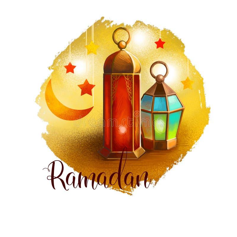 Το Ramadan Ramazan, Ramzan, Ramadhan, ή λαμπτήρας Ramathan και ημισεληνοειδή φεγγάρι και αστέρια απομόνωσε την ψηφιακή απεικόνιση ελεύθερη απεικόνιση δικαιώματος