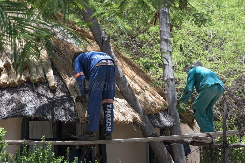 Το Roofer επισκευάζει η στέγη ενός σπιτιού, Μποτσουάνα, Αφρική στοκ φωτογραφία με δικαίωμα ελεύθερης χρήσης
